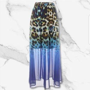 WORTHINGTON Blue Animal Print Skirt